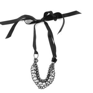 Silver Black Multi-layered Necklace